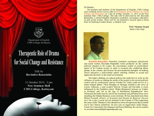 Ravindra Ranasinha on Therapeutic Role of Drama